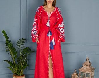 Dress Ukrainian Vyshyvanka Dress Embroidered Women Dress Shirt