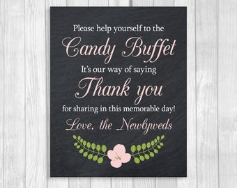 SALE Printable 8x10 Black and White Chalkboard Wedding Candy Buffet Sign with Light Pink Flower - Instant Digital Download