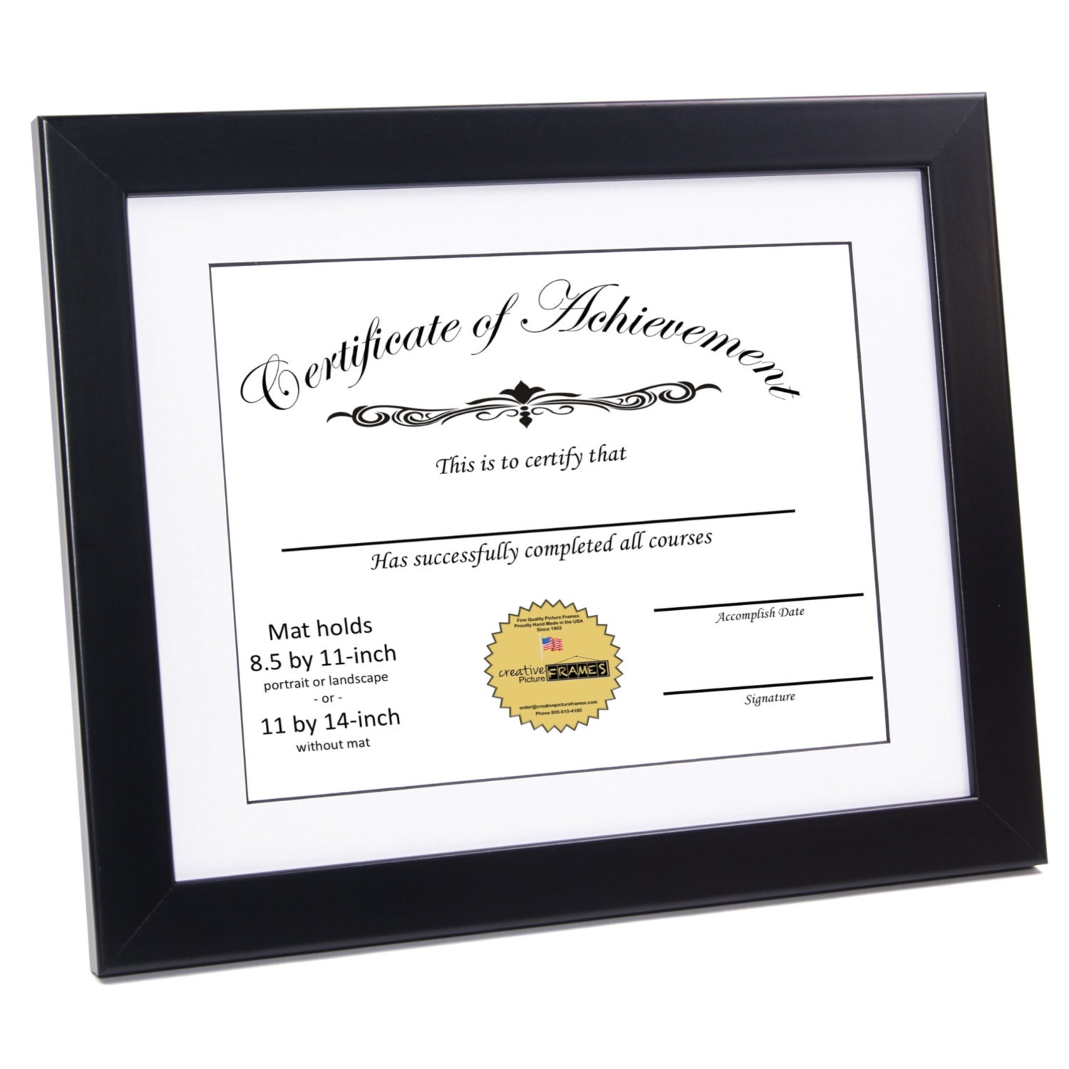 Black Certificate Frame Displays 8 5 By 11 Inch With Mat Or