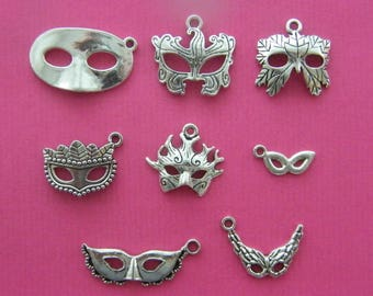 The Mask Collection - 8 different antique silver tone charms
