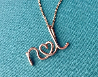 Two Lovers-Rose Gold Personalized Initials Necklace, couples initials necklace, wedding, bridal shower, anniversary, lovers jewelry