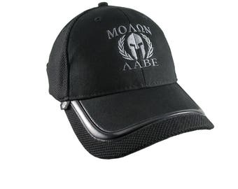 Molon Labe Spartan Warrior Mask Armor in Laurels in Dual Silver Embroidery on an Adjustable Black Structured Fashion Baseball Cap