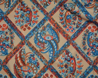 Vintage 70s polyester knit novelty print Japanese fabric Oriental fabric 70s hippie blue orange floral lattice for lounge wear