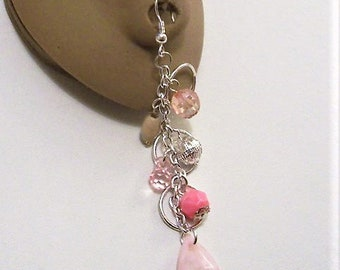 Pink Bead Pierced Earrings Silver Tone Vintage Long Open Rings Wood Filigree Faceted Accent Dangles