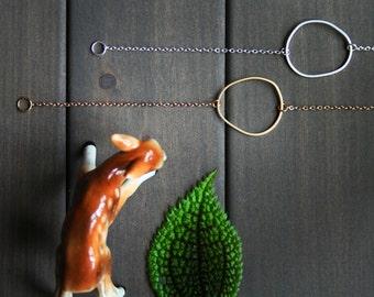 Topo Bracelet 1 - circle freeform round topography gold golden silver short minimal minimalist modern uneven everyday