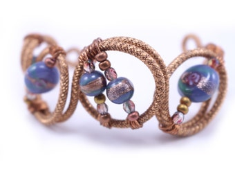 Flexible, Adjustable Textured Copper Wire Bracelet with Glass Beads