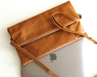 Tan leather fold over clutch, leather foldover clutch, tan clutch, genuine leather clutch, leather clutch tan, leather purse, leather bag