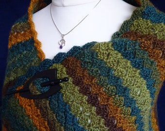 Gorgeous handmade crocheted wrap / prayer shawl in soft, variegated acrylic yarn, machine washable, available to order in other colours