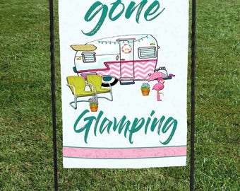 """Gone Glamping Flag, Chevron Camper flamingo, campsite, clamping, Display at your campsite, 12""""x18"""" , retirement gift, birthday gift"""