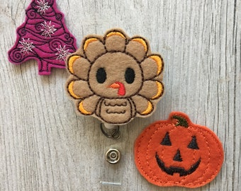 Holiday Badge Reel - Halloween Day Badge Reel - Thanksgiving Badge Reel -  Christmas Badge Reel - Interchangeable Badge Reel