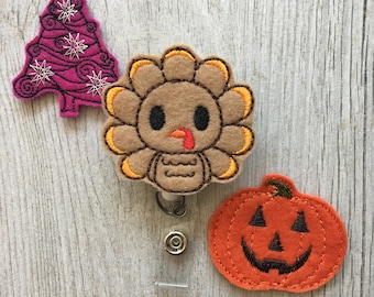 Vacances bobine insigne - jour d'Halloween Badge moulinet - Thanksgiving Badge moulinet - Noël Badge bobine - bobine insigne interchangeables