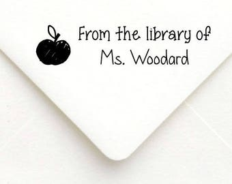 Custom Teacher Stamp, Teacher Rubber Stamp, Teacher Gift Stamp, Personalized Name Teacher Stamp, From The Library Of, Apple Teacher Stamp 31