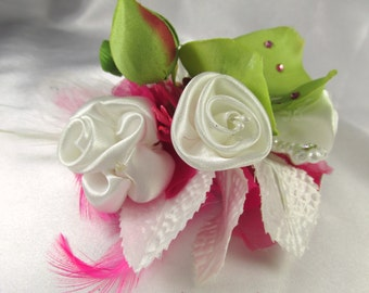 Hot Raspberry Pink, Green Orchid and White Ribbon Roses Hair Clip Facsinator with Swarovski