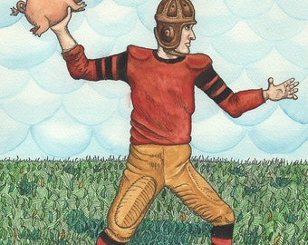Old-fashioned American Football Quarterback Throwing A Piglet - 8 x 10 Print - Watercolor Painting