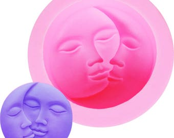 Sun Moon Lovers Valentine's Kiss Soap Fondant Silicone 3D Cake Mold Cupcake Decoration Baking Molds