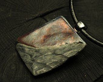 Raku Necklace - Landscape  - Handmade Raku necklace OOAK