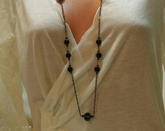 Purple Crystal Necklace and Earrings  Gunmetal Chain Set