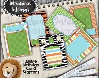 Jungle Birthday Card Starters - Immediate Download