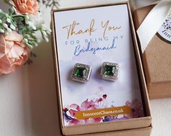 Emerald earrings, wedding earrings, bridesmaid earrings, gift for her, bridesmaid gift, mothers day earrings, square earrings, green earring