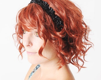 Black ruffled headband, black womens headband, black elastic hairpiece, Womens headband, Womens accessories, MALAM