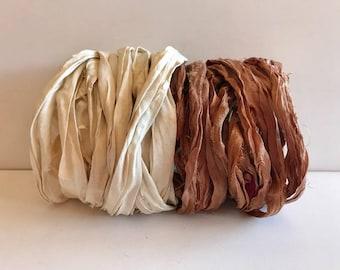 Silk Sari Ribbon-Antique White & Brown Sari Ribbon-10 Yards