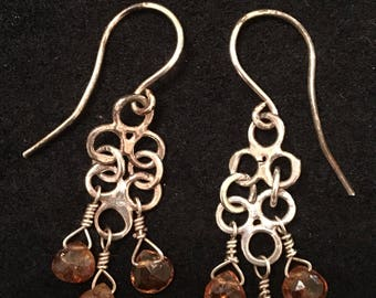 Fused and hammered fine silver dangle earrings with tourmaline.