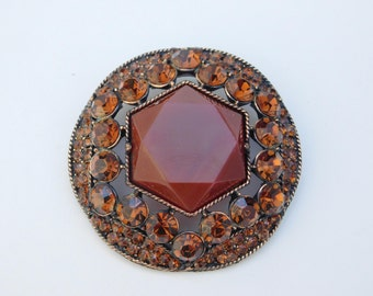 Large Vintage Weiss Brooch Pin Amber Rust Copper Round Rhinestone