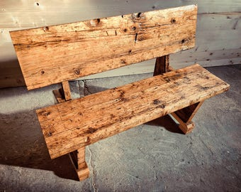 Wooden square, garden bench in rustic design, garden bench, wooden bench