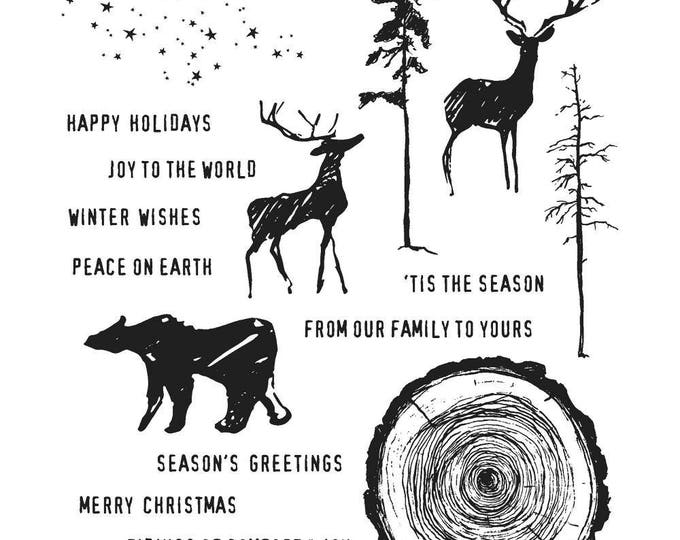 Tim Holtz GREAT OUTDOORS Holiday Christmas Cling-Mount Rubber Stamp Set by Stampers Anonymous CMS321
