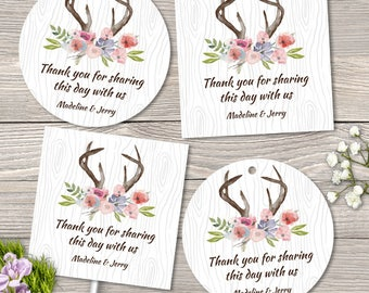 Printable Rustic Antlers Watercolor Flowers Faux Bois Images, Editable PDF Instant Download seals, stickers, tags, buttons, cupcake toppers
