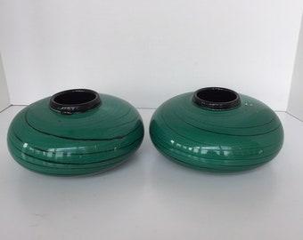 Pair of green low round Italian vases
