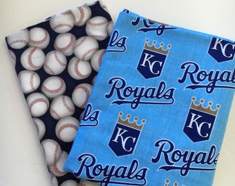 kansas city baseball fabric, reversible custom pet bandana, dog scarf, pet scarf, dog bandana, pet clothing, pet attire, baseball bandana