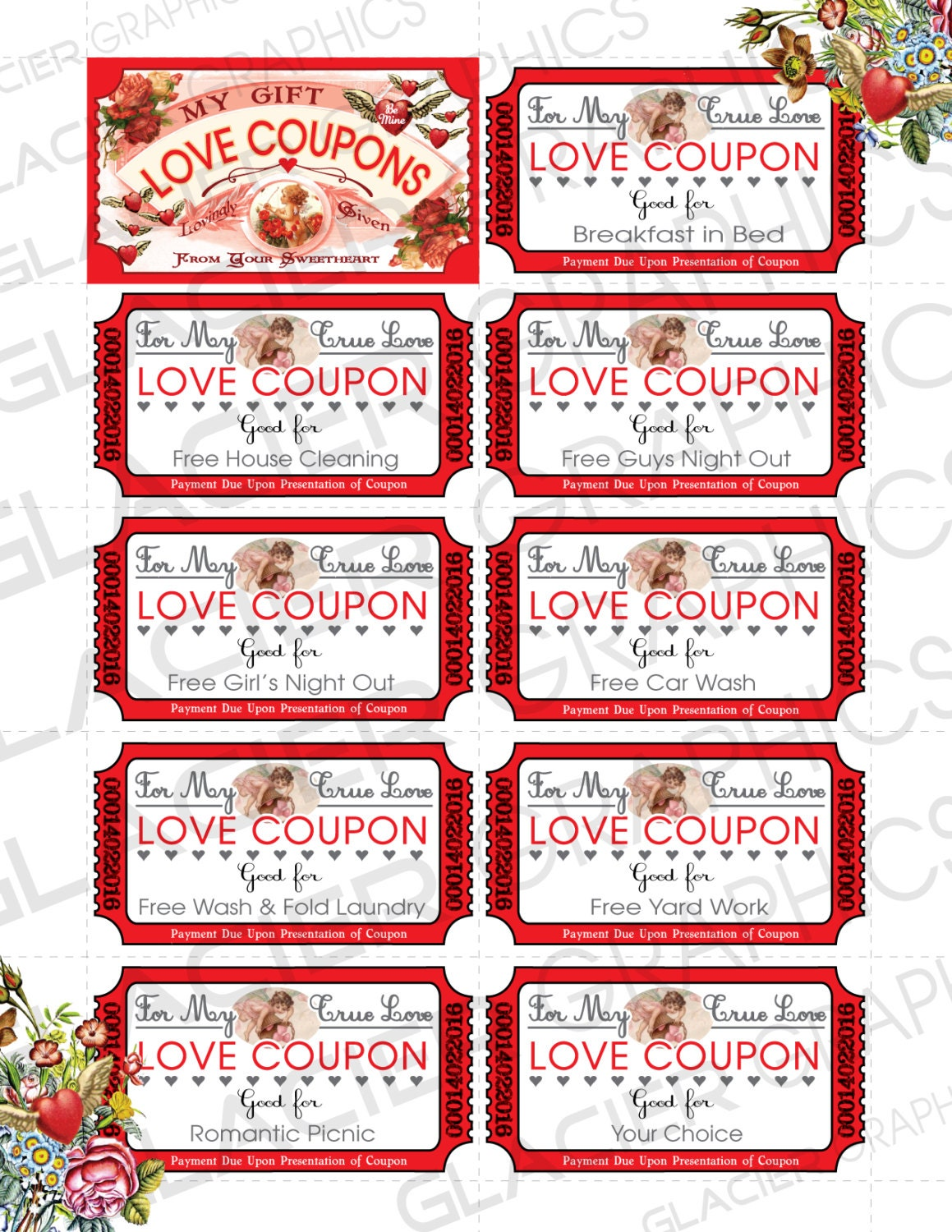coupon book template for boyfriend - valentine love coupons business card template valentine
