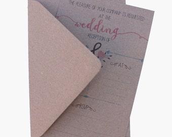 10 Vintage Reception Invitations with envelopes 044 evening invites
