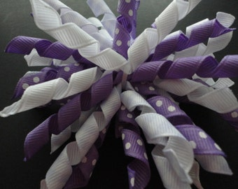 Adorable Purple and White Korker Hair Bow