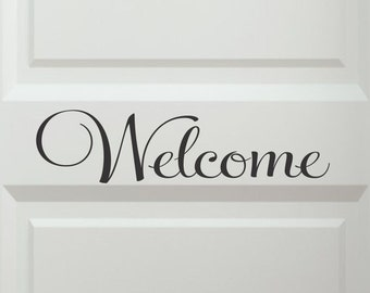 Front Door Decals - Welcome Door Decals - Welcome Decals - Living Room Wall Decals - Family Room Wall Decor - Removable - Vinyl Lettering