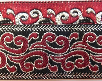 "Jacquard Ribbon Trim Tape~Burgundy~silver metallic on a black background~Fire~Dragons breath pattern~1"" wide"