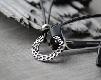 SALE silver eyeglass necklace, eyeglass holder, eyeglass chain, eyeglass lanyard, hammered antique silver necklace, lanyard