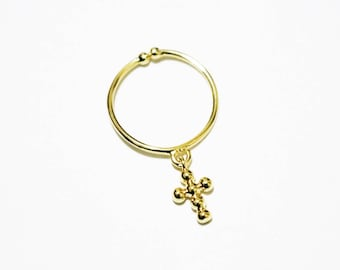 Dainty Cross Ring - Gold Plated Ring - Layering Ring - Stacking Ring - Adjustable Ring - Gold Ring - Gold Cross Ring