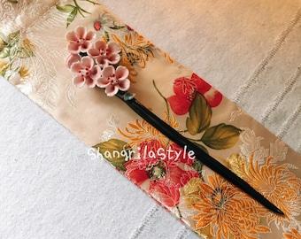 Handmade Ceramic Hair Stick in Chinese Style Peach Blossom, Magnolia Flower
