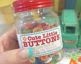 Cute Little Button Jar #1 - Cute Little Buttons in a Jar, Contains 500 Buttons