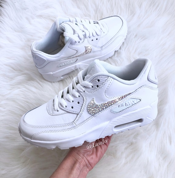 Nike Air Max 90 White customized with SWAROVSKI? Xirius Rose-Cut Crystals.
