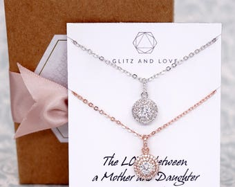 Luxe Cubic Zirconia Round Drop necklace, Halo style crystal necklace, Silver rose gold bridesmaid necklace, brides wedding jewelry N231