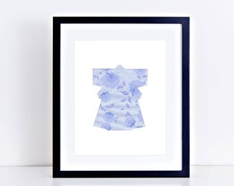 Japanese kimono art print - limited edition collage print, blue art, Japanese art, asian art, wall art, home decor, securty envelope kimono
