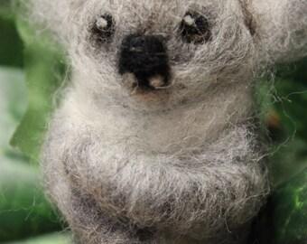Needle Felted Poseable Koala - Made to Order