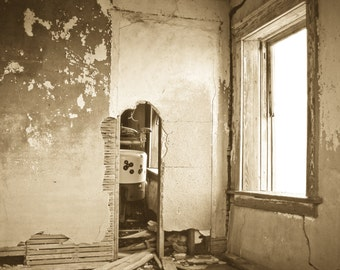Rustic Art, abandoned house 1, abandoned room, architecture, neutral, Home Decor, Fine Art Photography