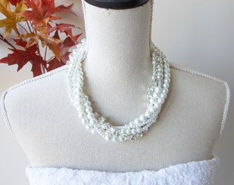 Chunky Pearl and Rhinestone Necklace, Pearl Rhinestone Statement Necklace, Bridal Pearl Necklace