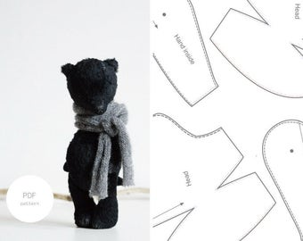 PDF Sewing Pattern & Tutorial Mohair Teddy Bear 8 Inches Stuffed Animal Pattern For Women Artist Teddy Bear Pattern Plush Pattern Soft Toys