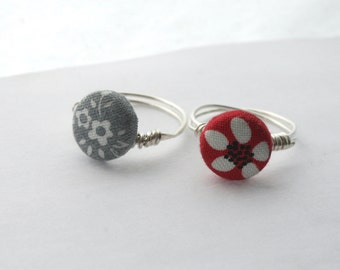 Small Button Ring / Vintage Floral Fabric Button Wire Wrapped Ring