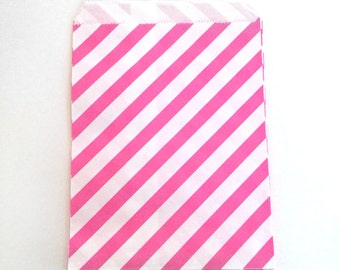 paper bags - treat bag - wedding favor bags - flat paper bag - gift bags - kraft paper bags - diagonal stripes bags - set of 12 bags - pink